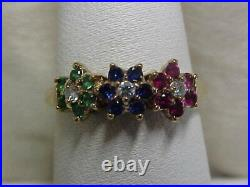 ESTATERED RUBY-BLUE SAPPHIRE-GREEN EMERALD FLORAL RING 10K YELOW GOLD sz6.75
