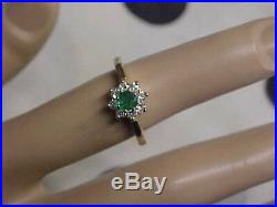 ESTATE. 49ctw NATURAL GREEN EMERALD & DIAMOND FLORAL RING 14K YELLOW GOLD s5.25