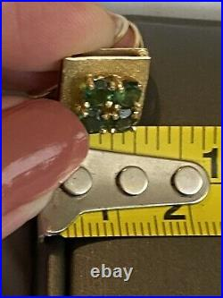 ESTATE NATURAL Signed GREEN TOURMALINE SOLID 18K YELLOW GOLD RING