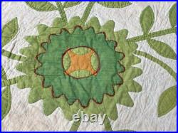 Early! C 1850s Green APPLIQUE Whig Rose Quilt Antique Fine Quilting Maryland PA