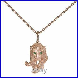 Effy Panther Emerald Diamond Pendant Necklace Solid 14k Rose Gold 8.2g