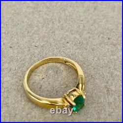 Emerald & Diamond 18ct Yellow Gold 3 stone oval Dress Ring 750 18k Fine Quality