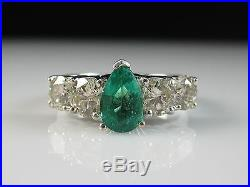 Emerald Diamond Ring 14K White Gold Estate Pear Fine Jewelry $5000
