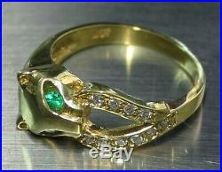 Emerald Eyes &. 15 ctw Diamonds PANTHER 18k Solid Yellow Gold Ring Sz 6