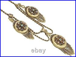 Emerald & Opal, 15ct Yellow Gold, 3 Locket Necklace Antique Victorian