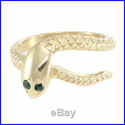 Emerald Snake Band Ring Womens 14k Yellow Gold Antique Vintage Estate US 4.5