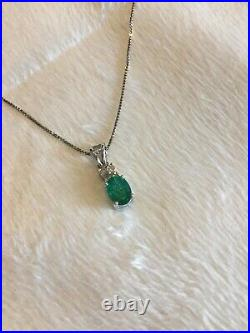 Emerald and Diamond 18k White Gold Pendant with 18 White Gold Necklace