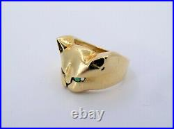 Estate 18K Gold Angry Cat Emerald Eyes Ladies Ring Fine Jewelry Size 7 (SEE)
