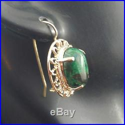 Estate 1980-90 14K Solid Oval-shaped Green Turquoise Cabochon Dangle Earrings