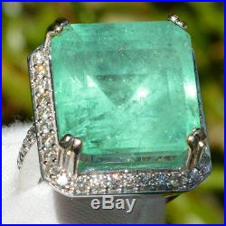 Estate 30.05 Ct Natural Colombian Emerald Diamond Vintage Ring 14k White Gold