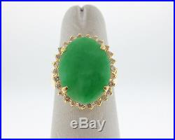 Estate Green Jade 1/2ct Diamonds Solid 18k Yellow Gold Halo Cocktail Ring