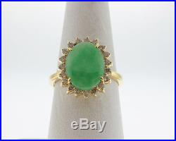 Estate Green Jade Diamonds Halo Setting Solid 14k Yellow Gold Ring FREE Sizing