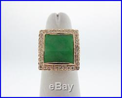 Estate Green Jade Diamonds Solid 14k Yellow Gold Cocktail Ring FREE Sizing