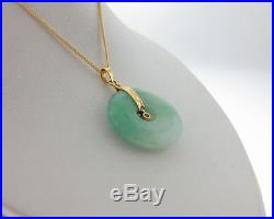 Estate Green Jade Genuine Diamond Solid 18k Yellow Gold Pendant 20 Necklace