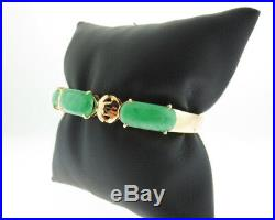 Estate Green Jade Solid 18k Yellow Gold Bangle Bracelet 6 Small Wrist