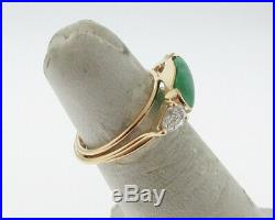 Estate Green Jadeite Jade Diamonds Solid 14k Yellow Gold Handmade Ring Size 5
