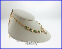 Estate Green Jades Solid 14k Yellow Gold 16.5 Necklace