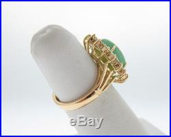 Estate Jade 1.28cts VS Diamonds Solid 14k Yellow Gold Cocktail Ring
