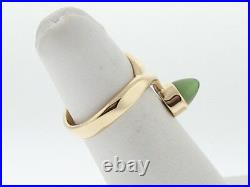 Estate Unique Jade Solid 14 Yellow Gold Ring Fine Jewelry FREE Sizing