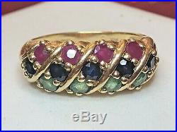 Estate Vintage 14k Gold Genuine Red Ruby Emerald Sapphire Ring Multi Gemstone