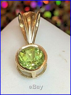 Estate Vintage 14k Gold Natural Green Peridot Pendant Gemstone Designer Signed