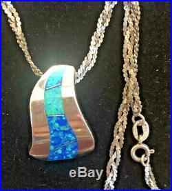 Estate Vintage Sterling Silver Opal Necklace Pendant Made In Italy Gemstone