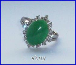 Exceptional Unusual Large Antique Vintage Chinese Green Jade & Diamond Gold Ring