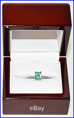 Exotic Tacori 1.10tcw Untreated Colombian Emerald & Diamond 18kt White Gold Ring