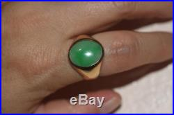 FINE 14K YELLOW GOLD MEN'S RING With OVAL GREEN STONE CREATED JADEITE JADE SZ 9