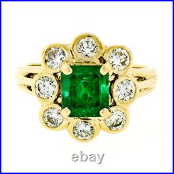 FINE 14k Yellow Gold 2.31ctw Green Emerald Solitaire with Bezel Diamond Halo Ring