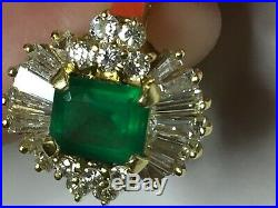 FINE EMERALD and DIAMOND RING 2.35 TCW 18K GOLD FREE SHIPPING