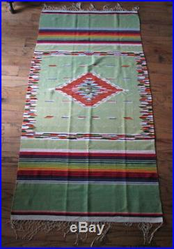 FINE OLD SALTILLO SERAPE BLANKET 88 x 43, GREEN RED BLUE YELLOW, MEXICO MEXICAN