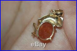 Fine 14K Yellow Gold Brown and Green Jade Frog Pendant Good Luck Charm Dije