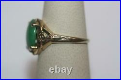 Fine 14K Yellow Gold Vintage Oval Green Cabochon Stone Solitaire Ring Size 6