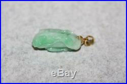Fine 18KT Yellow Gold Bale Green Jade Chrysalis Pendant Carved Leaf Charm