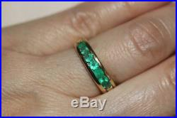 Fine 18K Yellow Gold Channel set Natural Emerald Band Ring Fine Jewelry -Size 7