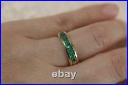 Fine 18K yellow gold Channel set Emerald Band Half Eternity Ring (4.8Grams)