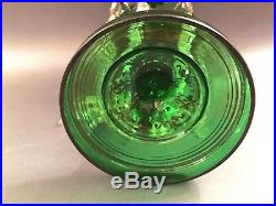 Fine 19th C Bohemian Emerald Green Glass Gilt Luster Candle Holder Prisms