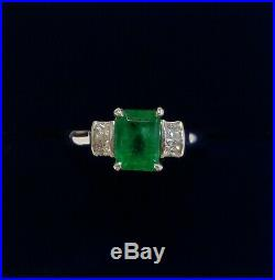 Fine 1.15ct Emerald and Diamond Ring 18ct White Gold Size N (US 6.75)