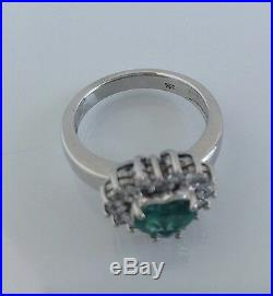 Fine AAAA+ 2.50ct Heart shape Colombian Emerald and Diamond Ring Solid 18K W. G