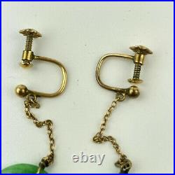 Fine Antique 15ct Yellow Gold Tested Jade Disc Screw Back Drop Earrings Chinese