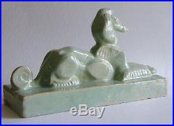 Fine Antique French Or American Art Deco Pottery Afghan Hound Signed By Artist
