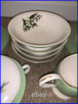 Fine Arts Fine China Green Gold Rim Lily Of The Valley 24 Set Springtime