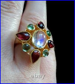 Fine BLUE Moonstone green Tourmalines 14k Arts & Crafts style ring