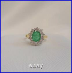 Fine Emerald and Diamond Cluster Ring 750 (18ct) Yellow Gold Size M 1/2