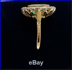 Fine Emerald and Diamond Cluster Ring 750 18ct Yellow Gold Size O (US 7)