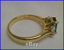 Fine Emerald and Diamond Three Stone Ring 18ct Yellow Gold Size N (US 6.75)