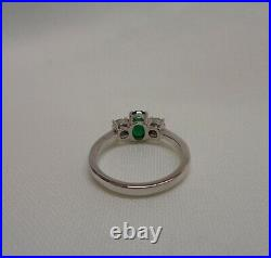 Fine Emerald and Diamond Three Stone Ring 750 (18ct) White Gold Size N 4.4 g