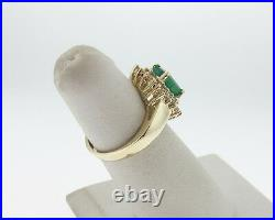 Fine Estate 2.50cts Natural Emerald Diamonds Solid 14k Yellow Gold Ring FREE Sz