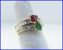 Fine Estate 2.50cts Natural Ruby Emerald Diamonds Solid 18k Yellow Gold Hearts R